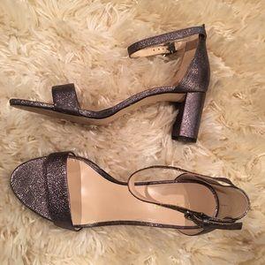 Nine West Silver(pewter) Metallic block heels Sz 9